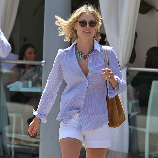 Ali Larter Striped Blouse White Shorts