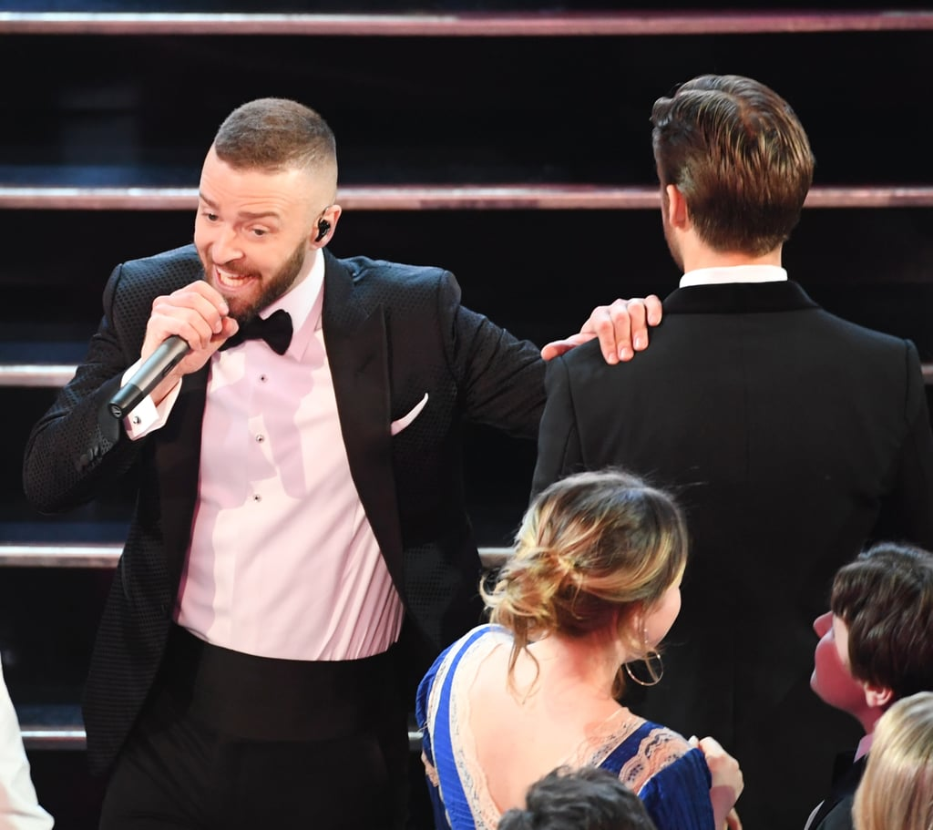 """Before becoming Hollywood heartthrobs, dads, and Oscar nominees, Justin Timberlake and Ryan Gosling got their start together on The Mickey Mouse Club back in the 1990s. While the two were good friends back then — Justin's mom even became Ryan's legal guardian during the last six months of filming — the two had a rather awkward encounter at the Academy Awards on Sunday night. During Justin's energetic opening performance of """"Can't Stop the Feeling,"""" he danced through the audience and stopped to interact with other stars, including Ryan, who looked less than excited when Justin came over to him and rested his hand on his shoulder.  Earlier this month, Justin revealed to The Hollywood Reporter that things have chilled between the former pals. """"We aren't the closest of friends, for whatever reason,"""" he told Jimmy Fallon in the interview. However, after the performance, the two were spotted chatting in the audience with Ryan's sister, Mandi — so maybe things are on the mend? Either way, this isn't exactly the MMC reunion we were hoping for, so here's a throwback video of Justin and Ryan performing on the show together to make up for it."""