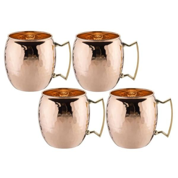 Old Dutch Solid Copper Hammered Moscow Mule Mug with Unlined Non-Lacquered (Set