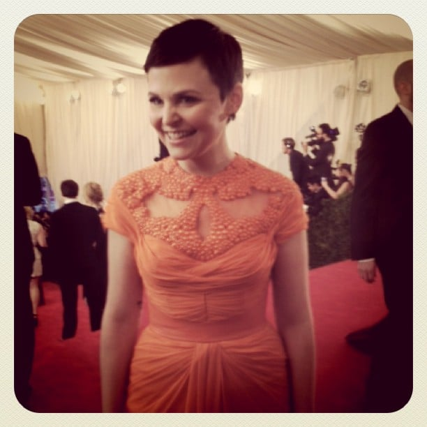 Ginnifer Goodwin stopped to chat on the CFDA red carpet, looking beautiful in her Monique Lhuillier confection.
