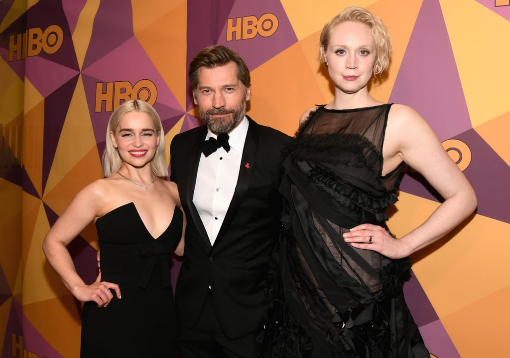 Game of Thrones season seven may have come to an end back in August 2017, but that doesn't mean the cast doesn't keep in touch. Just a day after Emilia Clarke reunited with Kit Harington at Sean Penn's annual Haiti Rising gala, the two popped up at HBO's Golden Globe Awards afterparty in LA. The bash also brought out Gwendoline Christie and Nikolaj Coster-Waldau and Emilia joined them for photos on the red carpet. Sadly, Kit's other half, Rose Leslie, didn't make an appearance — perhaps she's busy planning their upcoming wedding? Either way, we're so here for this reunion!       Related:                                                                                                           Kit Harington and Emilia Clarke Are Just as Cute Together in Real Life