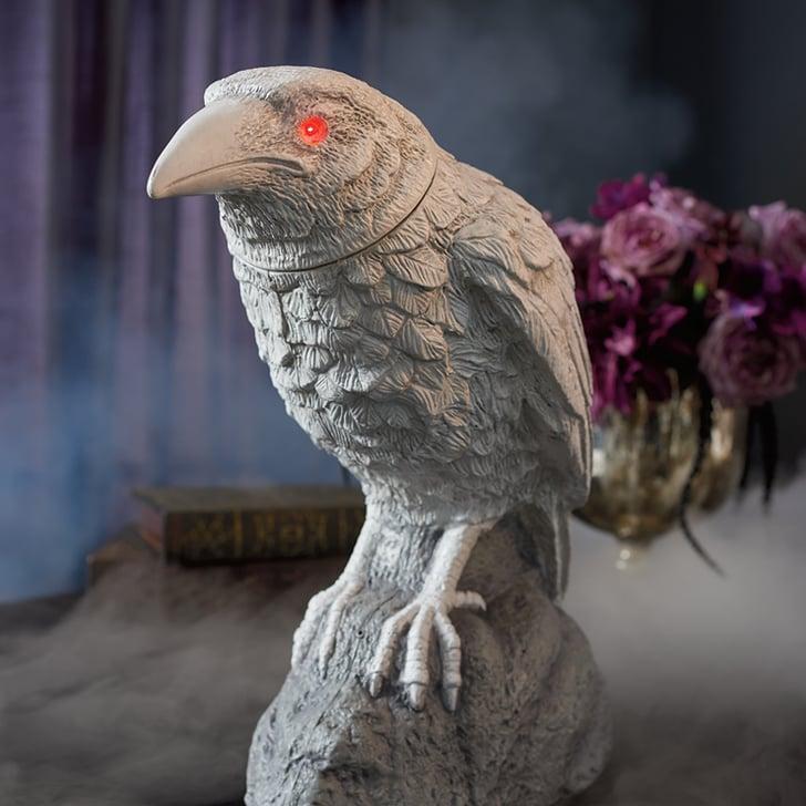 Best 2019 Halloween Decor At Grandin Road: White Animated Turning Head Raven