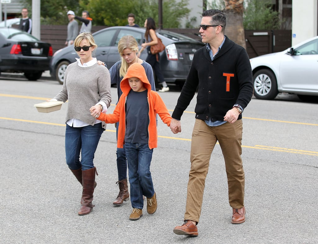 Reese Witherspoon and Jim Toth had a family breakfast with her kids Ava and Deacon in LA.