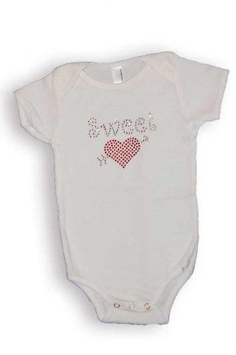Smartee Pants Baby Girls Crystal Sweet Heart Valentine's Day Onesie ($22)