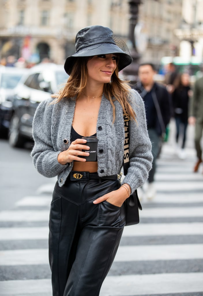 For the bold of heart, considr an open cardigan, layered on top of a bralette or cropped top and high-waisted pants.