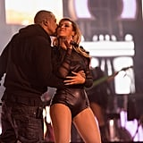 Jay-Z planted a kiss on Beyoncé during their performance at the Chime For Change benefit concert in London.