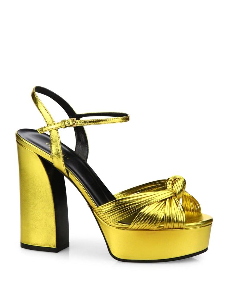 10f9294cb2e Gucci Allie Knotted Metallic Leather Platform Sandals