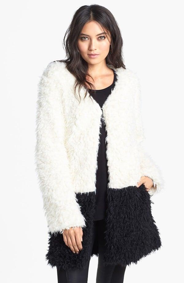 This MinkPink Faux Fur Coat ($119) offers a boho twist on a sharp black and white palette.