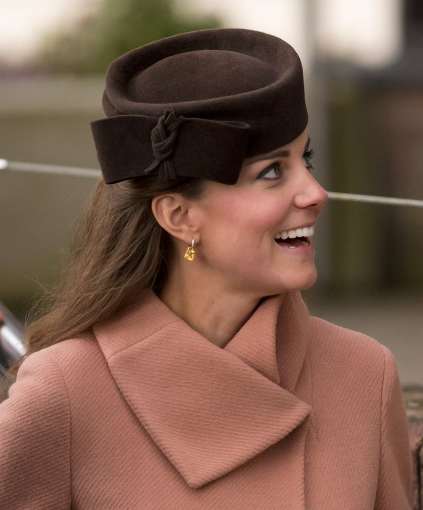 Kate wore Kiki's citrine cushion drop earrings to the Cheltenham Festival in 2013.