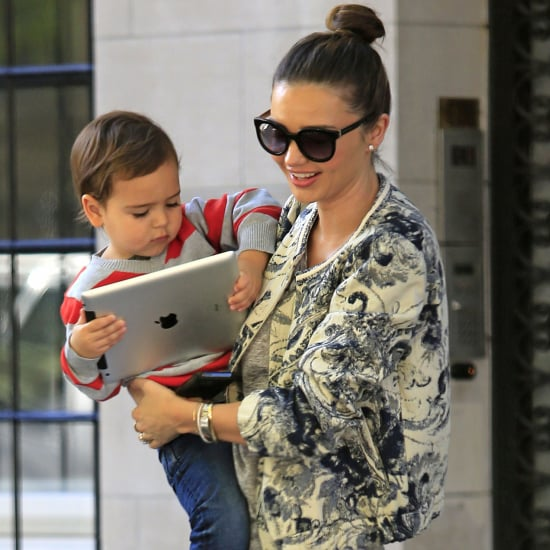 Miranda Kerr Carrying Son Flynn Bloom With an iPad in NYC