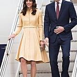 For her arrival to Bhutan, Kate brought out another favorite piece — a golden coat-dress by Emilia Wickstead.