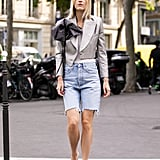 Try Square-Toe Sandals With Long, Distressed Shorts and an Ornate Cropped Blazer