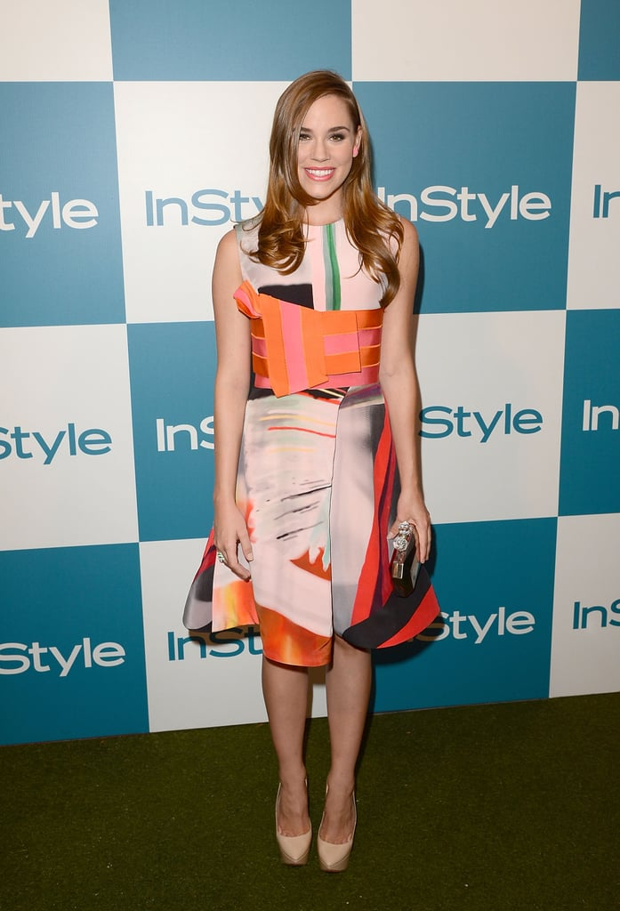 Revenge's Christa B. Allen went for bold — and killed it — in a multicolored Giorgio Armani dress from the designer's Fall 2012 line. As if that weren't enough of a statement, her three-stacked Ruthie Davis pumps made her geo-printed dress even more awe-inspiring.