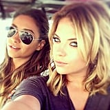 Ashley Benson and Shay Mitchell snapped a selfie from the set of Pretty Little Liars. Source: Instagram user itsashbenzo