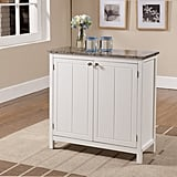 Kings Brand White With Marble-Finish Top Kitchen Island Storage Cabinet