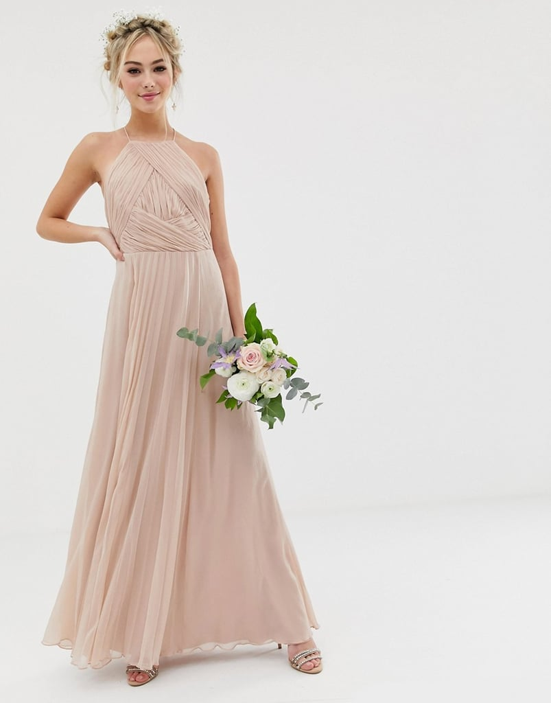 43403798f4fa3 ASOS Design Bridesmaid Pinny Maxi Dress With Ruched Bodice | The ...