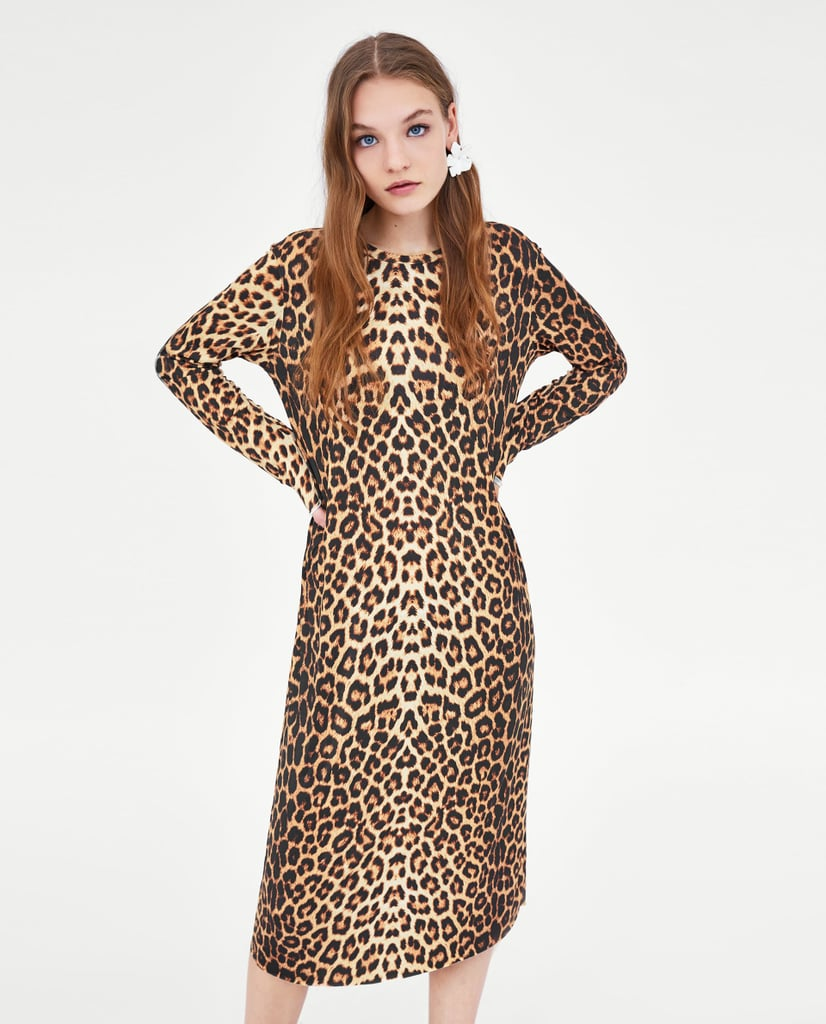 a9684427c65 Zara Leopard Print Blouse Dress