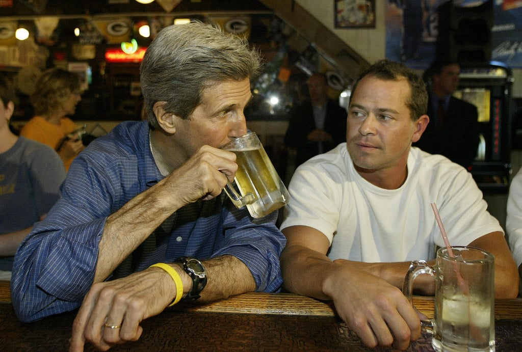 Former presidential candidate and current Secretary of State John Kerry threw back a cold one on the 2004 campaign trail.