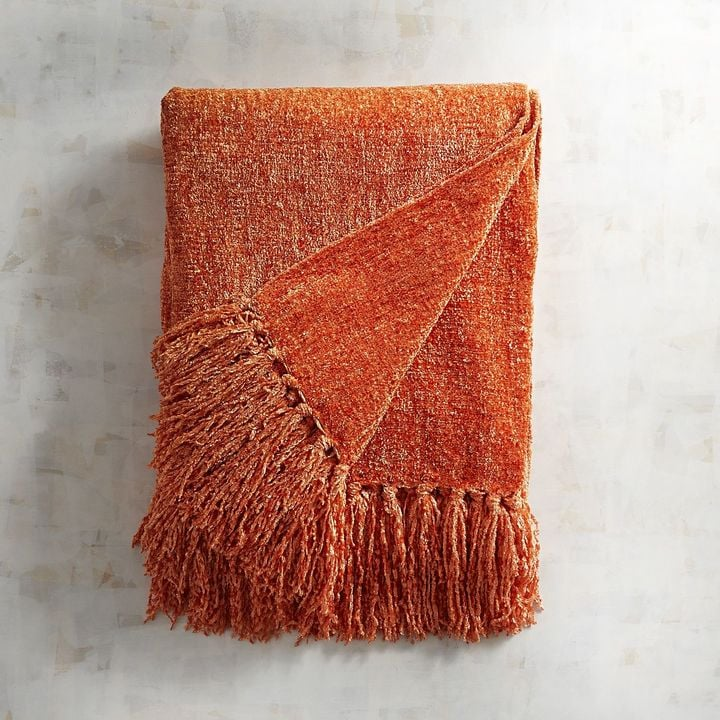 Pier 1 Imports Coral Chenille Throw