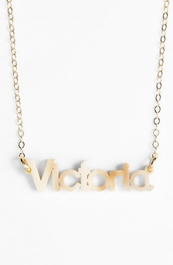 """Moon and Lola Women's """"Zebra Block Font"""" Personalized Nameplate Pendant Necklace"""