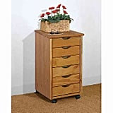 Adeptus Six-Drawer Roller Cart in Pine