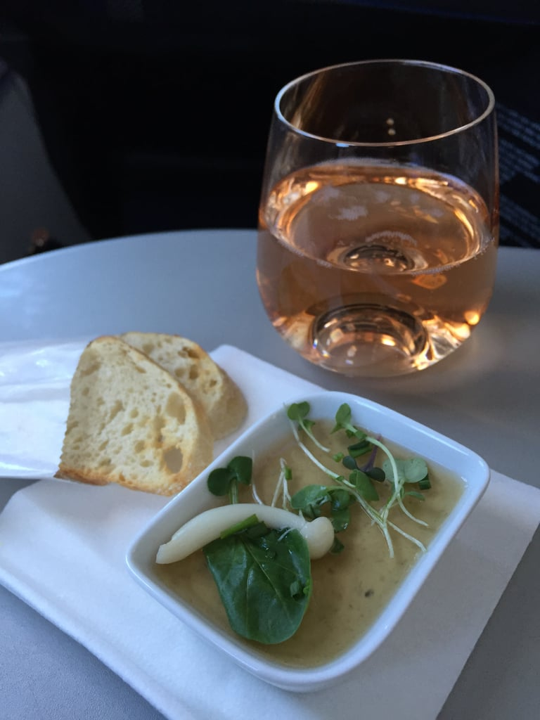 As a fan of rosé, I was pretty excited to see Roederer Estate Brut Rosé on the menu and find out that JetBlue was the first US airline to serve rosé. Oh, and it was delicious. The truffled portobello mushroom mousse? Not so much. I couldn't get over the gelatinous texture, and the crostini tasted stale.