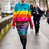 Style a Striped Sweater With a Colorful Skirt
