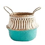 Dippy Aqua Fringe Basket