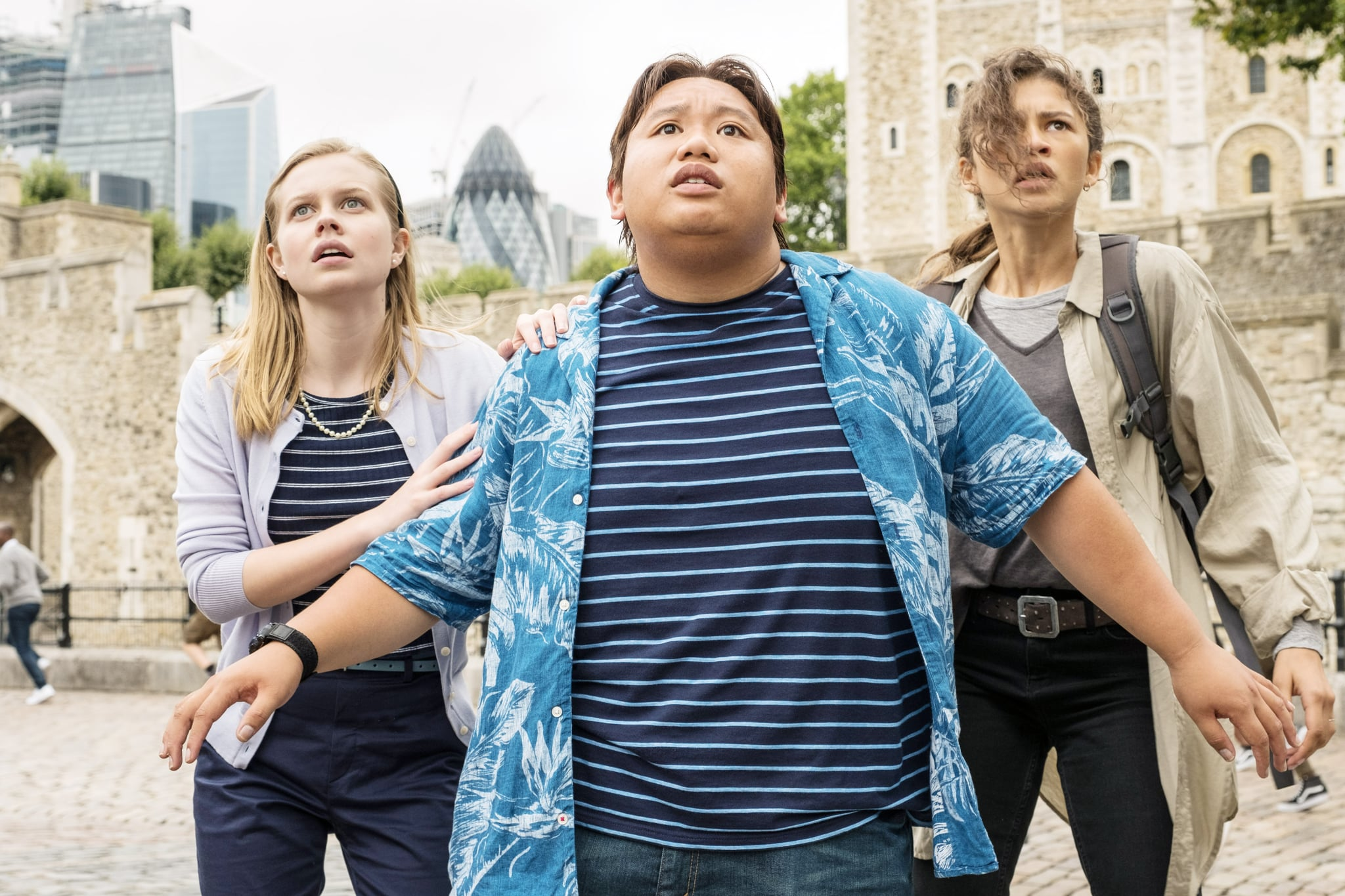 SPIDER-MAN: FAR FROM HOME, from left: Angourie Rice, Jacob Batalon, Zendaya, 2019. ph: Jay-Maidment /  Columbia /  Marvel Studios/ Courtesy Everett Collection