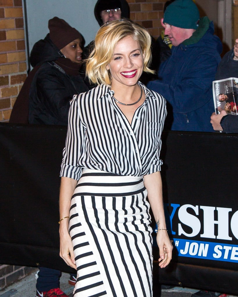 Even Sienna Miller was spotted trying out the wrap-and-tuck. With stripes on stripes to boot!