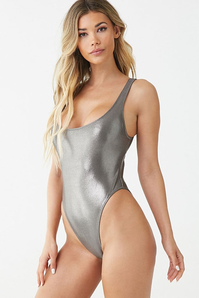 Forever 21 Metallic Cutout One-Piece Swimsuit