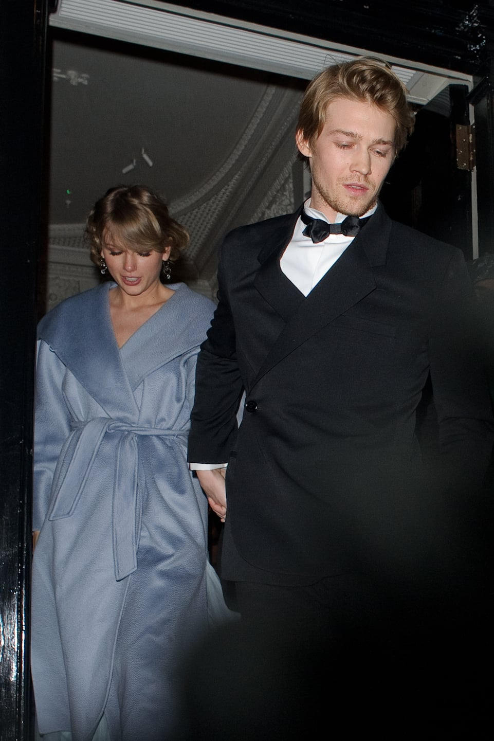 LONDON, ENGLAND - FEBRUARY 10:  Taylor Swift and Joe Alwyn seen attending the Vogue BAFTA party at Annabel's club in Mayfair on February 10, 2019 in London, England. (Photo by GOR/GC Images)