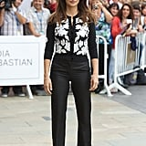 Penelope Cruz donned cropped black pants and a sweater in Spain.