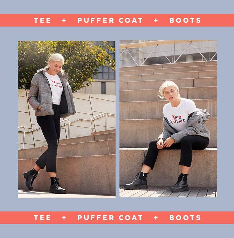 Puffer coats peaked in popularity last year, and they continue to be a hot commodity in 2019. Shake things up by styling your favorite puffer as if it's a blazer. You can't go wrong with a simple tee and boots combination, which in itself allows for limitless creative freedom. Whether you opt for a solid or graphic tee or thigh-high or lace-up boots, this formula is all sorts of stylish. To complete your look, feel free to venture away from jeans. You may even want to throw a curveball into the mix in the form of a miniskirt, joggers, or leather trousers.                                                                                                                                                                                                                                                                                                                             Slim Fit Tee                                                                                                                    Buy Now                                                                                                                                                                                                                                                                                                            Printed Puffer                                                                                                                     Buy Now                                                                                                                                                                                                                                                                                                            Combat Boots                                                                                                                    Buy Now                                                                                                                  