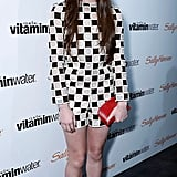 Hailee Steinfeld celebrated her 16th birthday in a checkered Louis Vuitton romper, finished with three-tone Nicholas Kirkwood ankle-strap pumps. We especially love the red platforms.