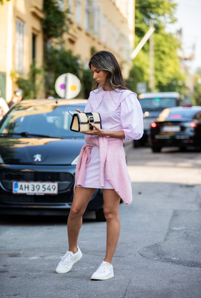 Try a pastel monochromatic look with crisp white trainers