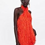 Zara Halterneck Dress With Fringing ($99)