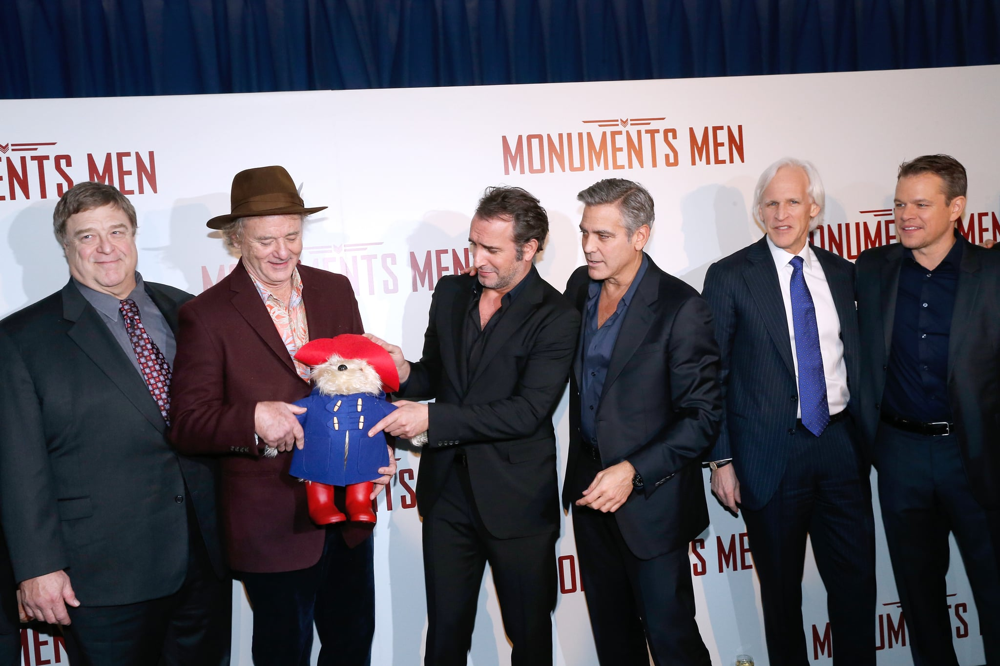 Later, at the Paris screening, someone threw the guys another Paddington Bear. But they took it in stride.