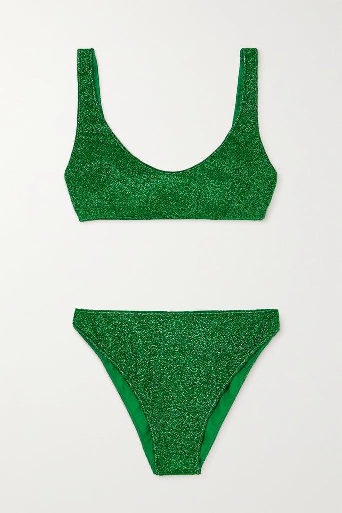 Oséree Green Lumière Stretch Lurex Bikini