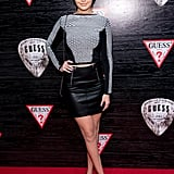 She worked with brands like Guess and attended red carpet events in miniskirts and crop tops. Gigi wore this mesh and leather combination at a party in 2014.