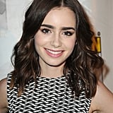 While at Comic-Con, Lily paired her signature bold brows with gorgeous waves and a pop of pink lipstick.