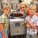 The cuties took a tour of a chocolate factory in August 2015.
