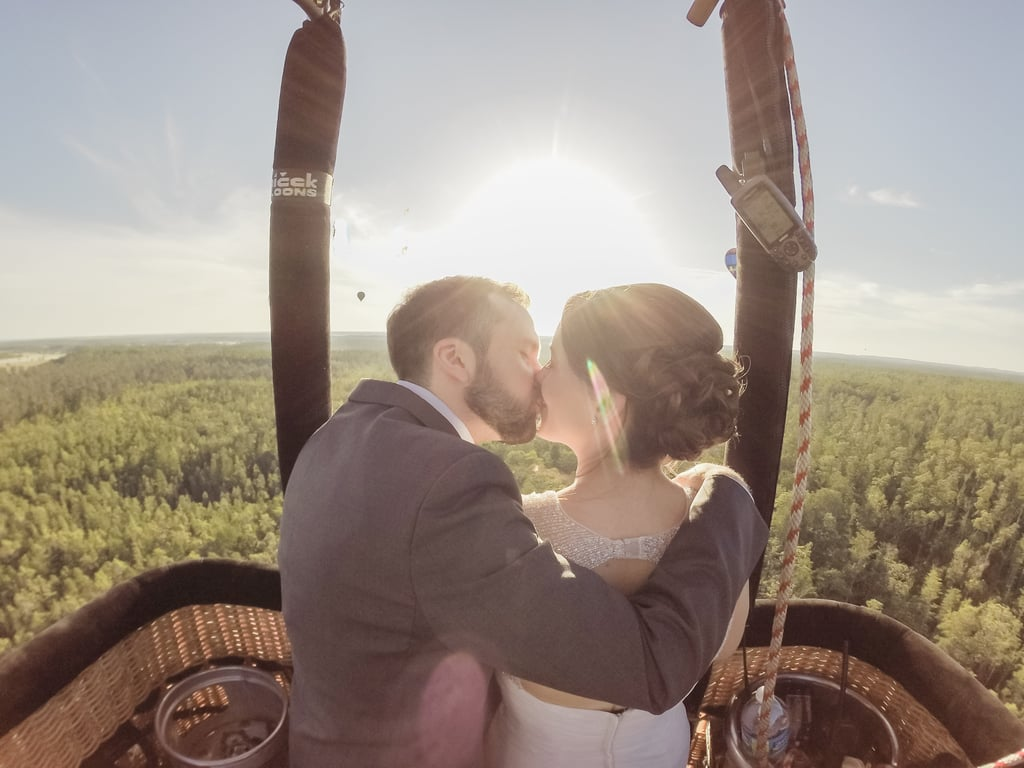 Jenny and Ivan had originally planned to throw a big wedding, but after their son was born, they chose to elope in a hot air balloon instead. See the wedding here!