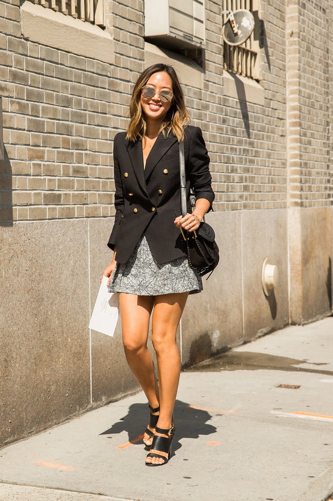 A Buttoned-Up Suit Jacket Over Your Minidress — but With Low Heels