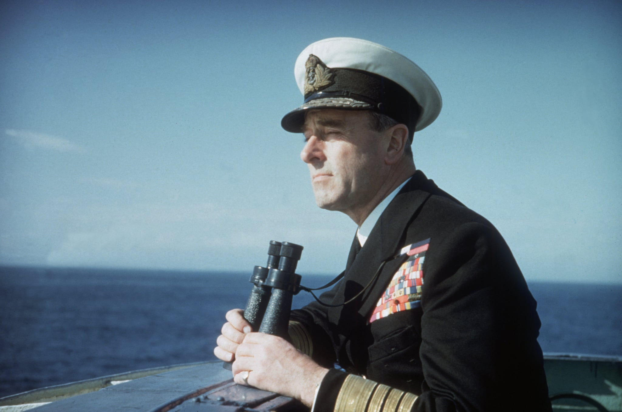Lord Mountbatten, 1st Earl Mountbatten of Burma (1900 - 1979), Commander of the Mediterranean Fleet, on naval exercises at Malta and Gibraltar in 1956. (Photo by Hulton Archive/Getty Images)