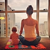 Gisele Bündchen and her daughter got some yoga time in. Source: Instagram user giseleofficial