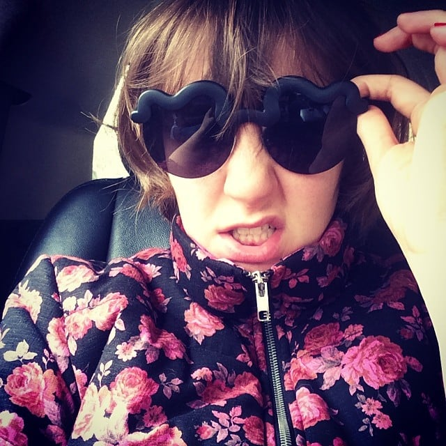 "Lena Dunham took a sassy selfie on Friday, giving a shout out to designer Peter Jensen for her ""bedspread-esque parka, which is practically vintage (a gift from 2010!)."" Source: Instagram user lenadunham"