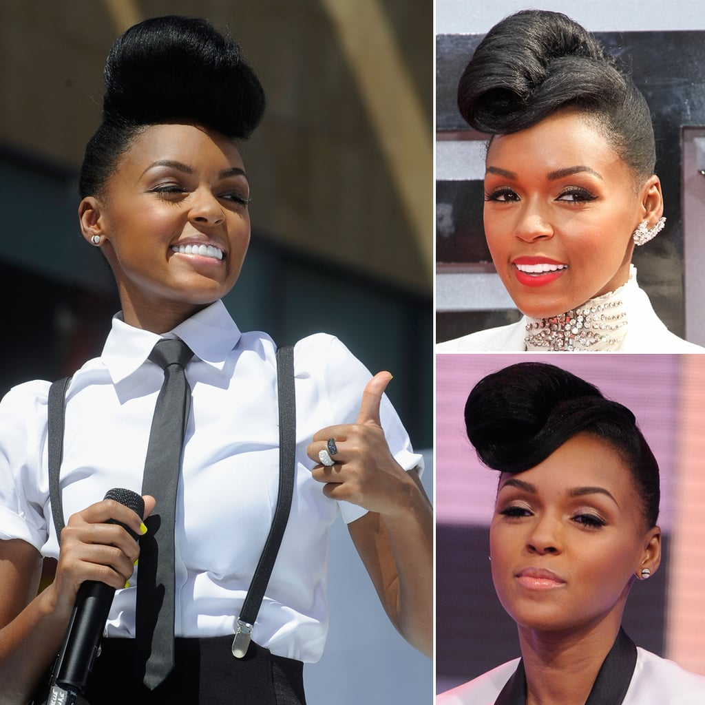 Who: Janelle Monáe The look: Her vintage bouffant R&B darling and CoverGirl spokeswoman Janelle never fails to impress with her vintage coiffure. Whether it's victory-rolled, teased up, or styled like a fascinator, this hairstyle, along with her love of perfectly tailored black and white clothing, has become her signature.