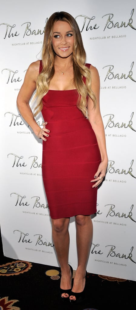 Lauren looked red hot in body-conscious Hervé Léger for her book party in 2010. Lesson from Lauren: a sexy silhouette in a look-at-me hue always makes a statement.