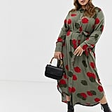 Zizzi Shirt Dress With Rose Print